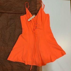 NWT MISSGUIDED Neon Orange Romper Dress